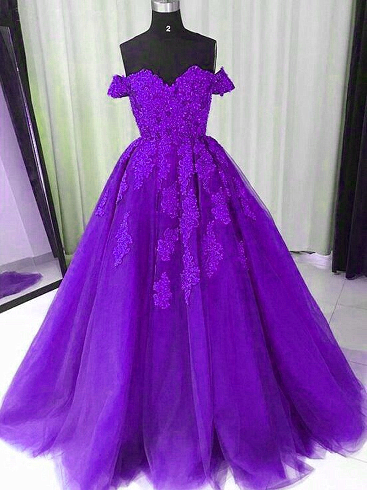 Beautiful Purple Off Shoulder Long Party Dress with Lace Applique, Evening Gown