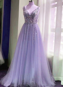 Beautiful Lavender Tulle V-neckline Sequins Long Party Dress, New Prom Dress