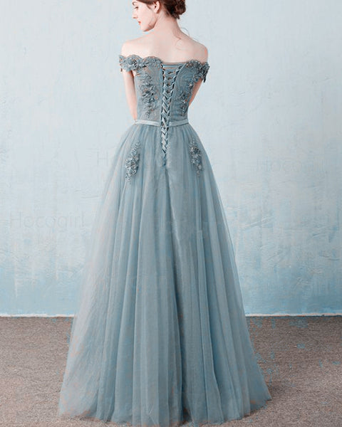 Grey A-line Long TulleOff The Shoulder Long Prom Dress, Light Grey Formal Dress Evening Dress