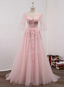 pink tulle prom dress 2020