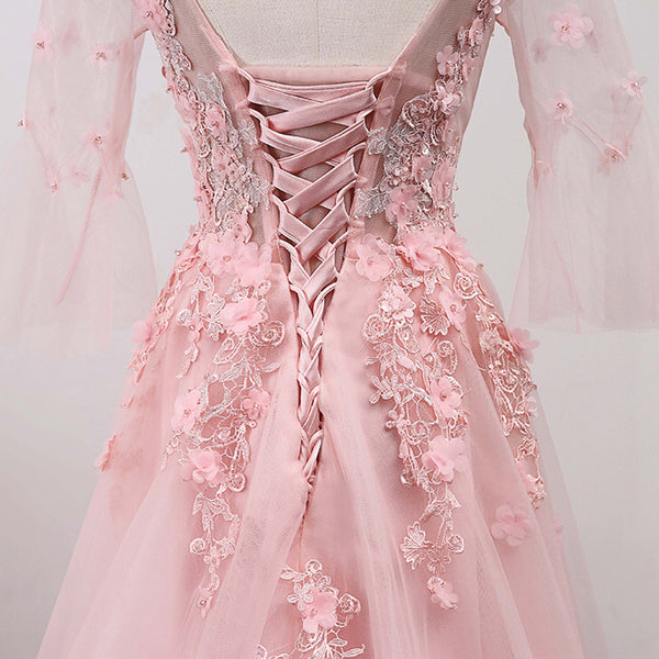 Pink Tulle V-neckline Lace Applique New Prom Dress 2020, Pink Gown
