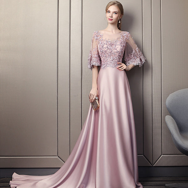 Pink Soft Satin Long Party Dress with Lace Top, A-line Pink Evening Dress Prom Dress