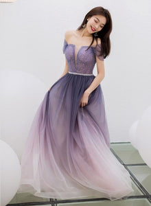 Purple Gradient Beaded Tulle Long Chich Party Dress, A-line Tulle New Prom Dress Formal Dress