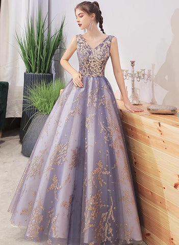 Purple V-neckline with Gold Lace Applique Tulle Prom Dress, A-line Purple Formal Dress Evening Dress
