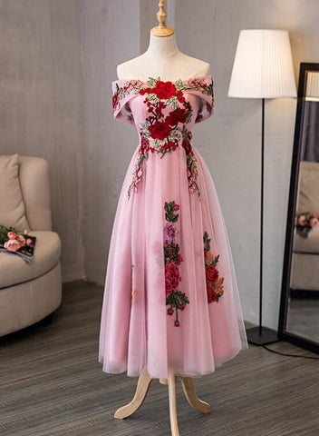 Pink tea length party dress