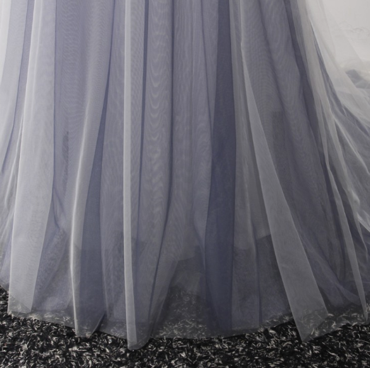 Grey Tulle and Lace A-line Long Party Dress 2019, Light Grey Formal Dresses 2019