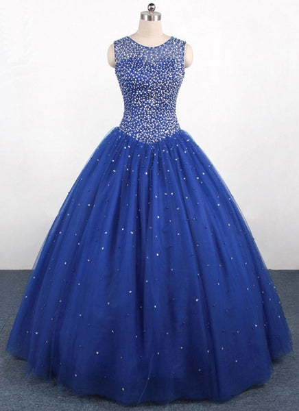 Gorgeous Beaded Round Neckline Blue Sweet 16 Dress, Party Gown 2019
