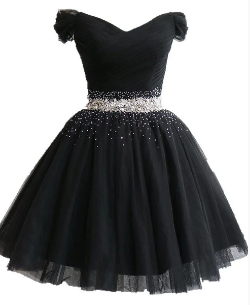 Fashionable Black Short Beaded Party Dress, Black Prom Dress 2020