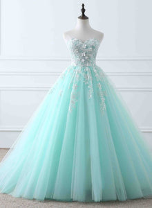 mint blue sweetheart tulle party dress