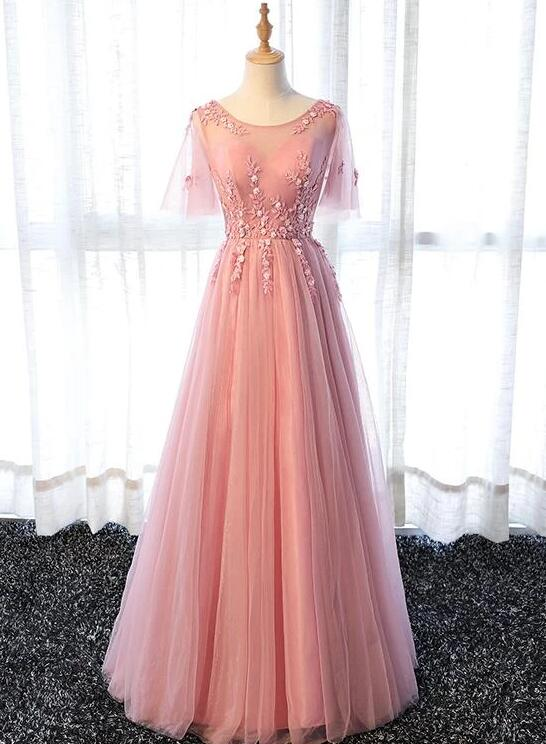 Pink Tulle A-line Long Party Dress, Pink Bridesmaid Dress