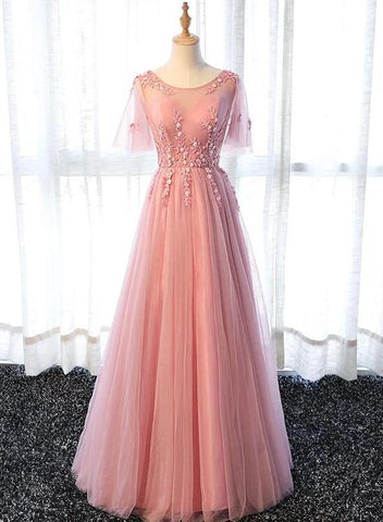Pink Tulle Long Party Dress with Flower Lace Applique, Pink Formal Dress Evening Dress