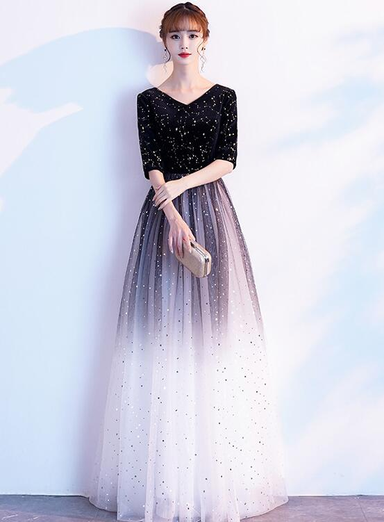 Black Tulle Gradient Long Party Dress, Short Sleeves A-line Formal Dress
