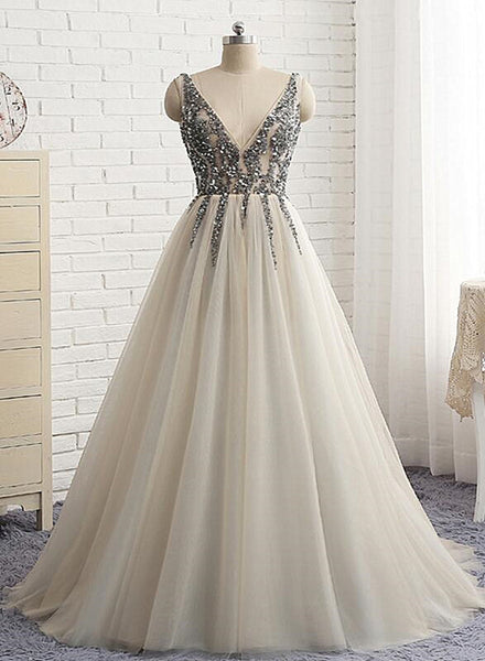 light grey tulle prom dress 2020