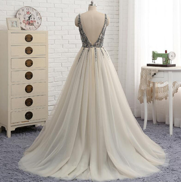 Charming Beaded V-neckline Long Party Dress, New Prom Dress 2020