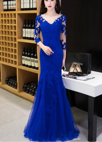 Royal blue Mermaid Tulle with Lace Evening Gown, Blue Evening Dress Lace Formal Dress