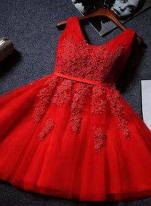 Beautiful Red Tulle V-neckline Knee Length Party Dress 2019, Red Homecoming Dresses 2019