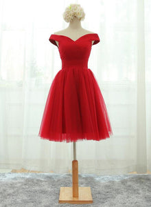 red off shoulder short party dress