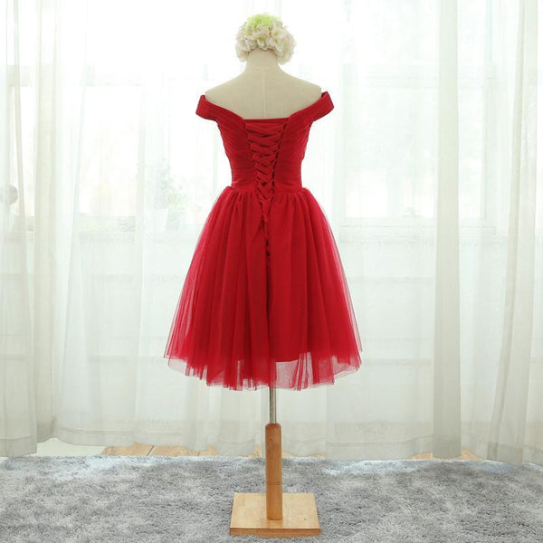 Red Tulle Homecoming Dress 2019, Short Party Dress 2019, Tulle Bridesmaid Dress