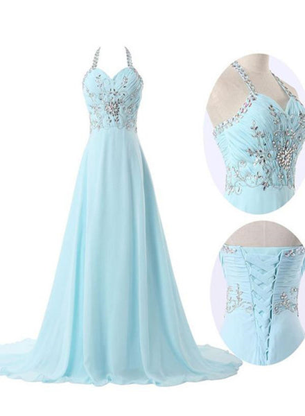 Light Blue Straps Chiffon Beaded Long Formal Dress, Charming Party Gowns