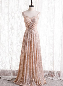 Gold Sequins Sweetheart Simple Spaghetti Straps Long Party Dress, Sequins Prom Dress Bridesmaid Dress