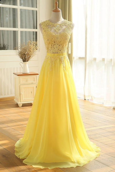 Charming Yellow Chiffon and Lace A-line Prom Dress 2019, Long Formal Gowns 2019