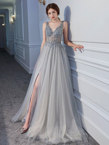 Sliver Grey Beaded Tulle V-neckline Long Evening Dress with Leg Slit, Tulle Prom Dress Party Dress