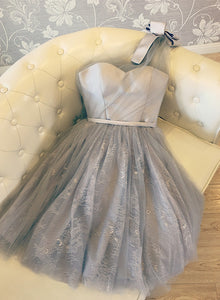 Beautiful Light Grey One Shoulder Tulle Bridesmaid Dress, Short Party Dress