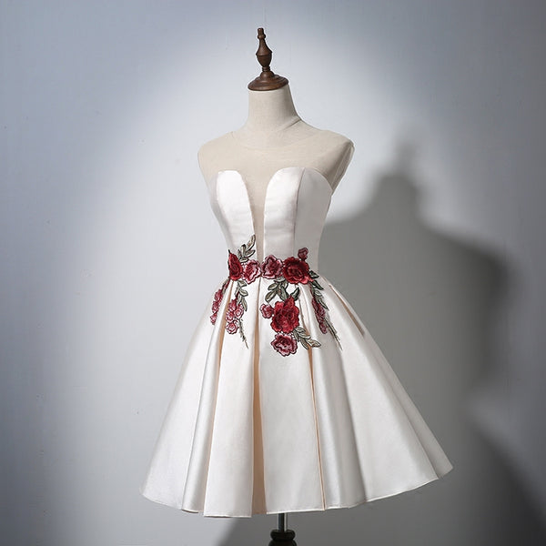 Ivory Satin Knee Length Party Dress with Flower Embroidery, Charming Formal Dress