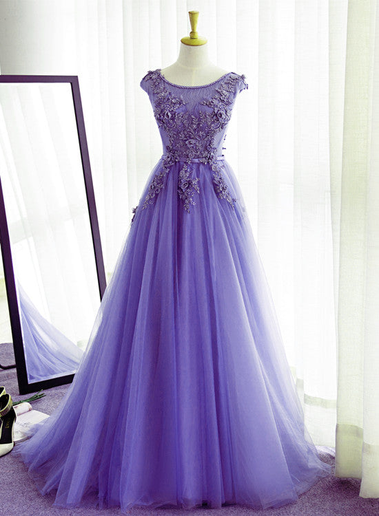 Unique Light Purple Round Neckline Long Party Dress, A-line Prom Dress 2020