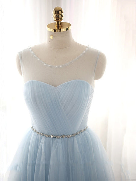 Cute Light Blue Homecoming Dress With Belt, Lovely Short Prom Dress