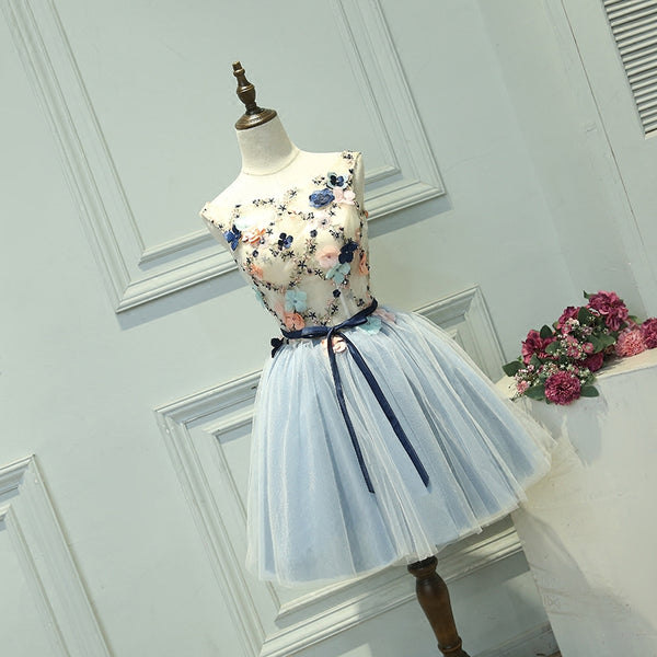 Cute Light Blue Short Tulle Homecoming Dress, Blue Prom Dress