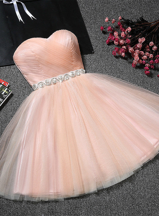 cute pink tulle homecoming dress