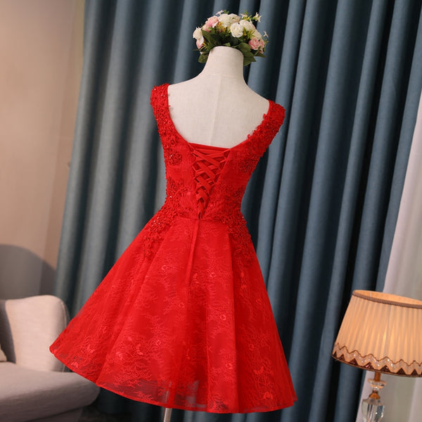Lovely Red Short V-neckline Lace Homecoming Dress, Red Short Prom Dress