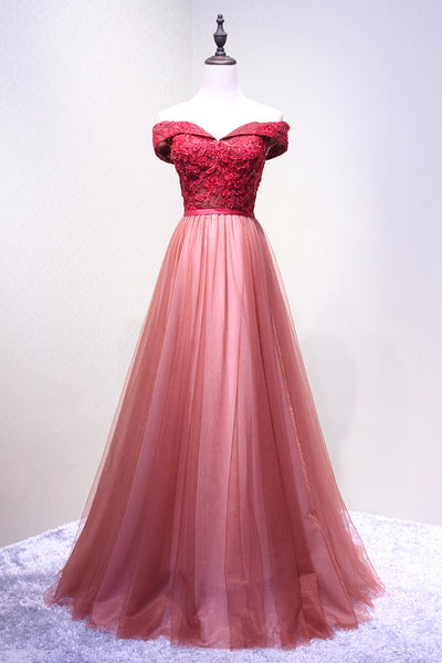 Red Off Shoulder Tulle Sweetheart Charming Party Dress, Beautiful Junior Prom Dress 2019
