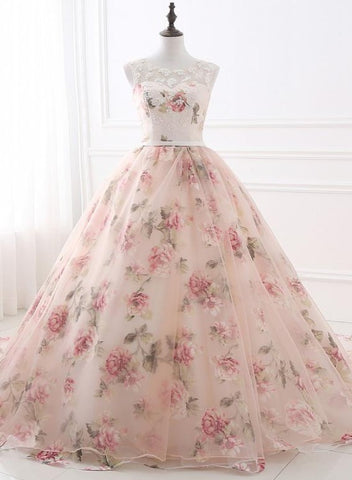 Beautiful Flowers Organza Formal Gown with Lace, Pink Sweet 16 Gown