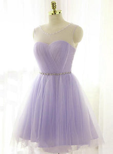 Adorable Light Purple Round Neckline Beaded Short Prom Dress, Cute Homecoming Dress