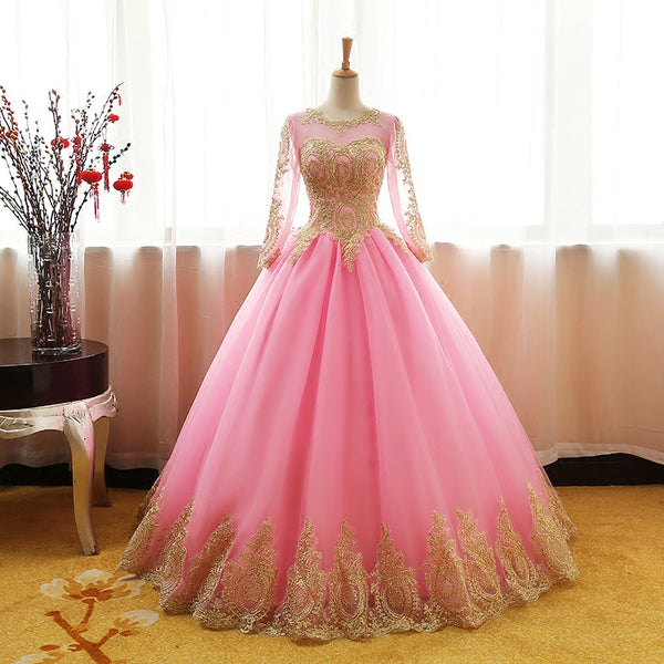 Pink Long Sleeves Tulle Round Neckline Sweet 16 Dresses, Pink Formal Gown