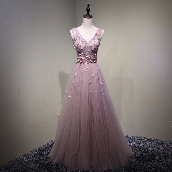 Elegant Pink V-neckline Long Formal Gown 2019, Charming Prom Dresses 2019