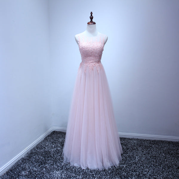 Pink Elegant Round Backless Floor Length Prom Dress 2019, Handmade Prom Dresses