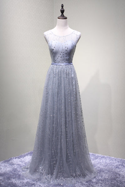 Light Grey Tulle Prom Dresses 2019, Long Round Neckline Party Dresses 2019