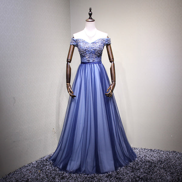 Blue Off Shoulder Sweetheart Lace-up Junior Prom Dress 2019, Party Dress 2019