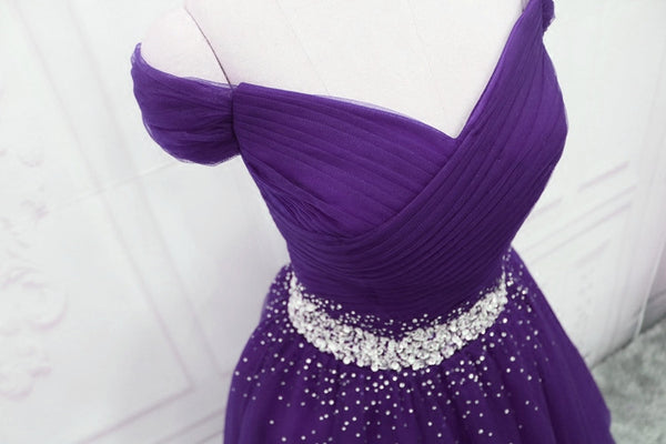 Dark Purple New Style Long Prom Dresses, Beautiful Junior Prom Dress