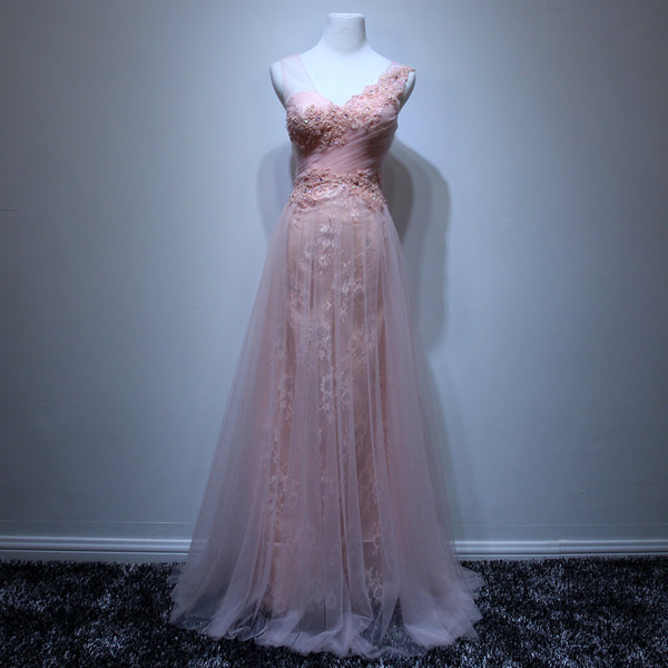 Pink Tulle and Lace Long Formal Dress 2019, Straps Party Dresses, Charming Formal Dress