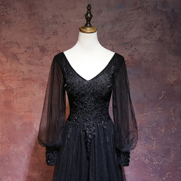 Beautiful Black Long Sleeves V-neckline Evening Dress, Black Prom Dress