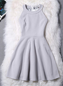 Fashionable Halter Short Grey Party Dress, Mini Zipper Back Homecoming Dress