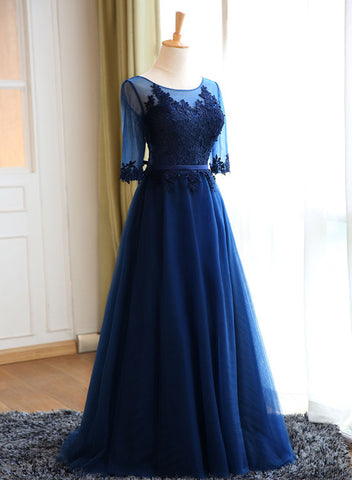 navy blue tulle long party dress 2019