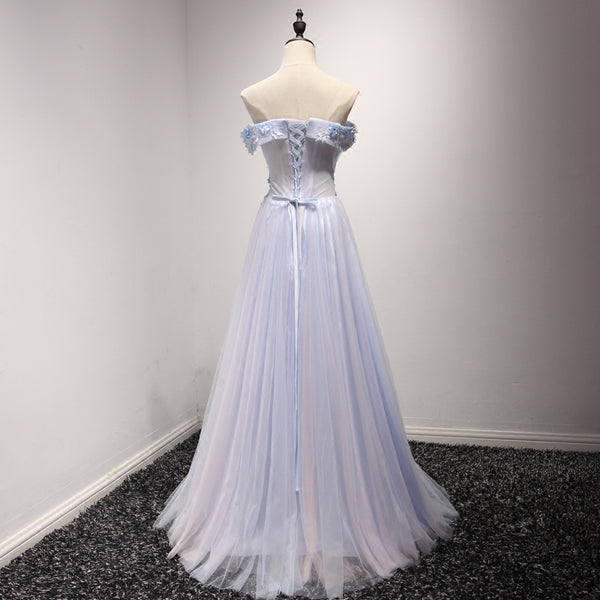 Light Blue Tulle Off Shoulder Charming Party Dress, Prom Dress 2019, Formal Dresses
