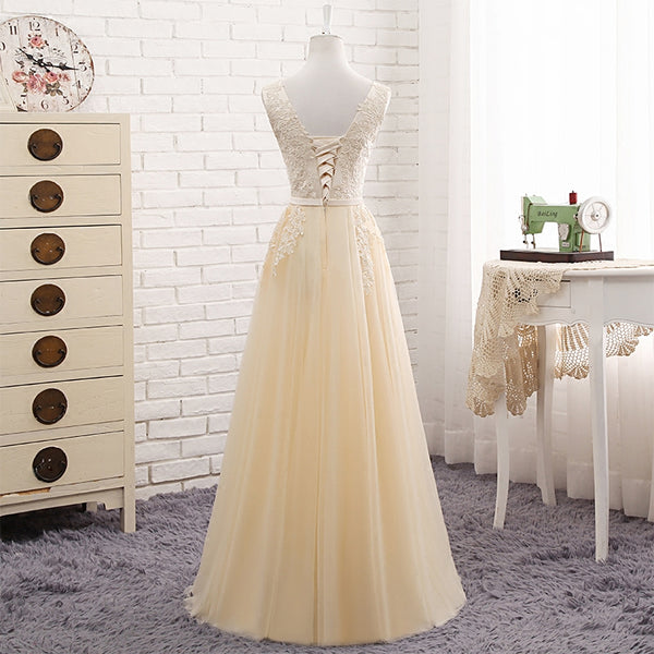 Lovely Tulle Light Champagne Bridesmaid Dress, Long Party Dress 2020