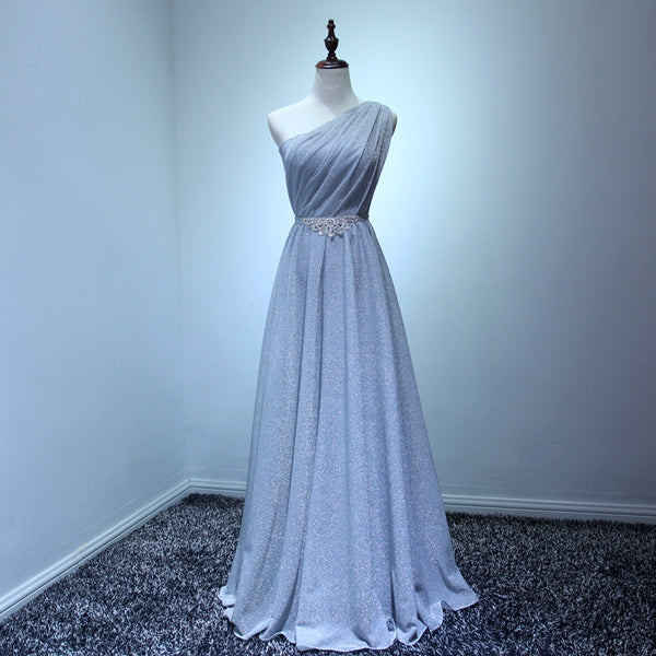 Grey Sliver Long One Shoulder Elegant Bridesmaid Dress with Belt, Long Formal Gowns
