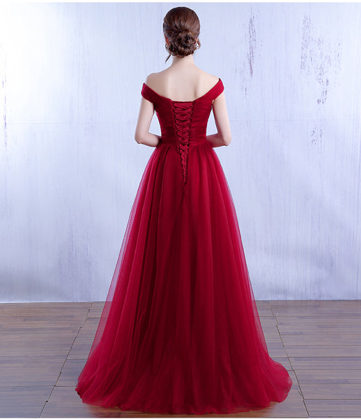 Beautiful Burgundy Off Shoulder A-line Prom Dress, Long Bridesmaid Dress